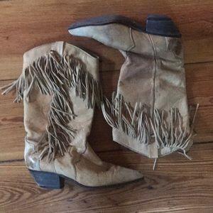 Shoes - Vintage Acme Leather Fringe Cowboy Boots